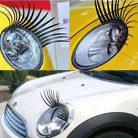 Wholesale Black D Automotive Headlight Eyelashes Car Eye Lashes Auto Eyelash D Car Logo Sticker charming eyelash stickers for cars pairs