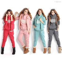 Wholesale S5Q Autumn Winter Women s Casual Sports Hoodies Coat Vest Pants Suit Tracksuit AAACQI