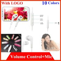 Wholesale Universal mm in ear Stereo Earbuds Earphone For iPhone samsung S4 LG mobile phone in ear Headphone Headset with Volume Control Micophone