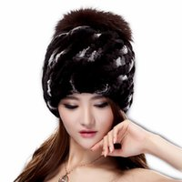 Wholesale Cute Warm Women Trappers Hats - Women's casual beanies winter real rex rabbit fur hat with fox fur pom poms various colors free size warm cute female beanies