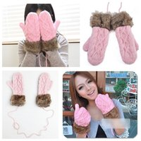 Wholesale Hot Sell fashion Winter Thick Hang Neck Mitten Knitted Warm Faux Fur Manual Weaving Gloves for Women Christmas Cute Pink