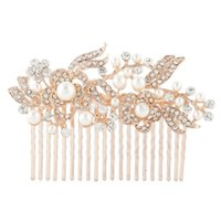 bella jewelry - BELLA Rose Gold Tone Hair Jewelry For Bridal Clear Flower Ivory Pearl Hair Comb Austrian Crystal Headpiece Accessories