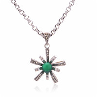 Asian & East Indian b friends - Green Stone Silver best friend necklace diffuser necklaces pendants Marcasite Oxidized Thailand Jewelry as gift No90 PET549 B