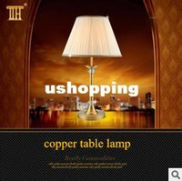 arrival copper tables - New arrival table lamp American Modern Cystal Table Lamp for Bedroom Bedside Lamp copper Table Light Fixtures H60cm Dia30cm