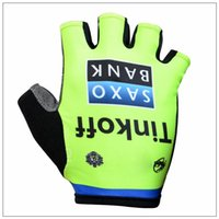 Wholesale 2015 Tinkoff saxo bank cycling glovessummer outdoor racing gloves anti skid Green Fluo half finger cycling gloves size S M L XL