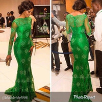 Reference Images arrival international - Sheer Long Sleeve Green Mermaid High Neckline Evening Gown NEW Arrival Celebrity Dresses