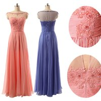 appliques - Sheer Scoop Neck In Stock Prom Dresses with Illusion Sleeve Backless Chiffon Lace Applique Long Evening Formal Gowns Cheap Coral Lilac