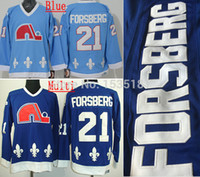 aqua ice - Cheap Men s Quebec Nordiques Peter Forsberg Jersey CCM Vintage Aqua Blue Ice Hockey Jerseys Mix Order Accept
