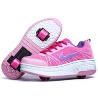 roller skate shoes - Children TWO Heely shoes with wheels Skates roller sports fashion casual PU leather breathable children roller Sneakers