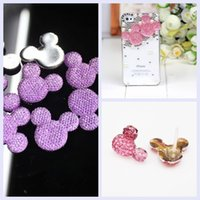 Wholesale Mickey Head Resin x3 cm Light Purple Mickey Head shape Flatback Resin Rhinestone High Quality