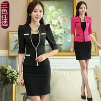 Wholesale 2015 new design fashion Europe America casual one button V neck Fifth sleeve office Lady OL women s blouse blazer skirts suits
