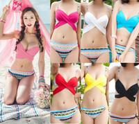 Women bikini bottoms - 2015 Korean Fashion Bikini Swimwear with Crossing Top Boho Bottom Padded Push Up Swimsuit ways Wearing Styles Bathing Suit Beachwear M271