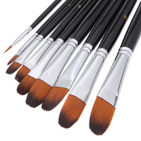 artist acrylics - 9pcs Nylon Hair Acrylic Paint Brush Set Filbert Head Wooden Handle Artists Gouache Watercolor Paint Brushes Art Supplies H14891
