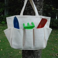Wholesale High quality burlap garden tool bag garden tote pouch holder bag with multi pockets storage bag DOM103192