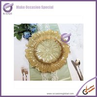 Wholesale gold Flora Glass charger plates for wedding