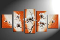flower picture frame - Handpainted Piece Wall Art Beautiful Flower Pictures Home Decoration Abstract Oil Painting On Canvas living Room no framed