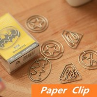 Wholesale 36 in box Super Hero Paper clips Metal clip Clamp Superman Novelty bookmark Stationary Office School supplies