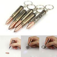 mini key chain - Multi function Bullet key chain in bullet laser pointer creative mini LED flashlight torch metal bullet laser pen stylish gun key chains