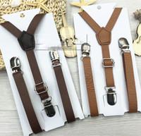 Wholesale Fashional Children Baby Clip Solid Graceful PU Shoulder Belt Kids All match Adjustable Suspender Brace Boys Girls Trousers Folder