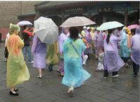 Wholesale 2016 New PE Disposable One Time Raincoats Poncho Rainwear Fashional Travel Rain Coat Rain Wear gifts mixed colors PC