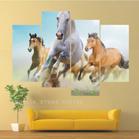 Cheap Landscape Wall Painting 4 Running horse Modern Art Picture Paint On Canvas Prints For Pictures Living Roo Home Decorative