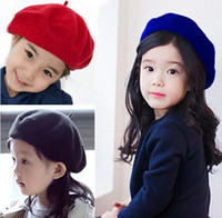 Wholesale Children wool beret hat princess hat for girls candy colors beret
