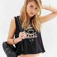 Wholesale 2016 New summer style punk crop top print tank top Black worn loose O Neck short cropped Vest