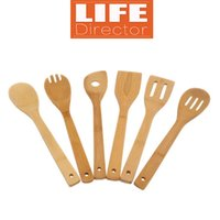 best shovel - Handmade Set Natural Bamboo Cookware Utility Spoon Fork Shovel Kitchen Cooking Tools Sets Accessories in Mesh Bag Best