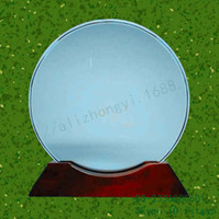 award base - Supply glass pie medal medal birch base disc laser engraving glass sandblasted glass award tray