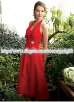 Cheap 2015 High Quality Sexy Ruched A-line Halter Chiffon Sleeveless Backless Tea Length Bridesmaid Dresses with Rhinestone