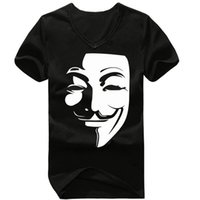 anonymous shirt - Unique Portraits Anonymous Guy Fawkes Mask Men T Shirts V Neck Short Sleeve Vintage Top Male Tee Shirts New Arrival