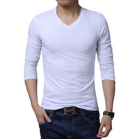 Cheap Newest design fashion long sleeve v neck solid men t shirt plus size M L XL XXL 3XL 4XL 5XL BT101