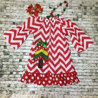 chevron dresses - 2 t girls new deisgn Christmas dresses red chevron X mas tree baby kids super cute party dress with matching accessories set