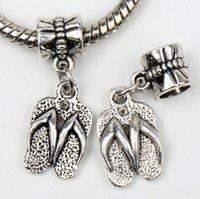 Metals tibetan beads - New X10mm Tibetan Silver Slippers Dangle Big Hole Beads Fit European Pandora Charm Bracelet Jewelry DIY