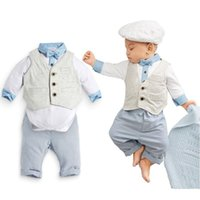 baby pants thank - 2014 autumn new Baby suit gentleman boys clothing set Three sets vest long sleeves shirt long pant blue bebe thanks