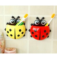 Wholesale Free DHL Ladybug Cartoon Sucker Toothbrush Holder Cute Suction Hook Tooth Brush Rack Hot Accessories Set Suction Cup Tool For Bathroom