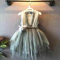 Summer american d - 2015 Girl Summer Dress Irregular Gauze Tiered Dress Girl Sundress Not Have Necklace Y