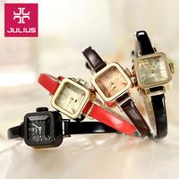 best ladies watches - Julius Lady Wrist Watch Quartz Woman Hours Best Fashion Dress Korea Bracelet Leather Band Lovely Square Cute Girl Gift JA