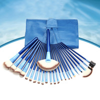 leather tools - New BLUE Makeup Brushes Set Kit Beautiful Professional make Up brush Tools With BLUE Leather Case