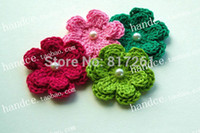 Wholesale 2015 IKEA fashion flowers beads pic garment bead for decor cotton knitted flowers with bead for clothes
