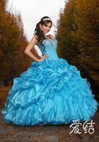 Cheap 2015 Quinceanera Dresses Corset Princess Ball Gowns with Beaded Crystal Bodice Blue Puffy Organza Long Girls Birthday Party Dress Customized