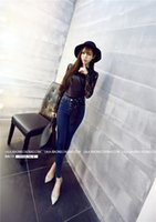 awesome pencils - 2015 Winter new three buckle waist jeans breasted Awesome version of Slim was thin pencil pants