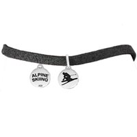 alpine designs - factory price antique silver color simple design a round pendant message ALPINE SKIING pendant slider leather chain bracelets