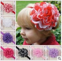 Wholesale Big Lace Flowers Baby Girls Headbands Children Hair Accessories Infant Floral Handmade Magical Head Bands