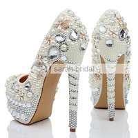 crystal pumps - 2015 Ivory Crystal Pearl Handmade Shoes Stiletto Pumps Heel cm High Heel Platform Height Lady Women Party Prom Wedding Shoes