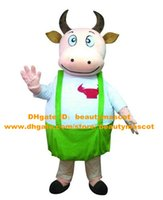 Wholesale Fancy Pink Ox Bull Mascot Costume Mascotte Cattle Calf Bovini Cow With White Shirt Fat Body Green Pants Adult No Free Ship
