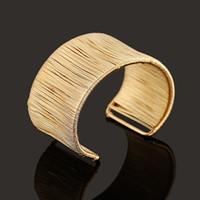 Wholesale India Fashion Jewelry Iron Wire Charm Bracelets for Women Gold Cuffs Handmade Winding Design Wide Cuff Bracelets BL153160