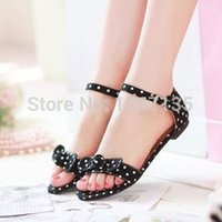 Wholesale Big size Sweet Bow shoes Polka Dot Buckle strap female Sandals Vogue open toe flat summer shoes