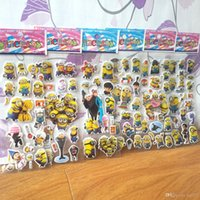 Wholesale Mickey Mouse car Despicable Me minion stickers kitty for children D Bubble cartoon kids stickers party gift sheets