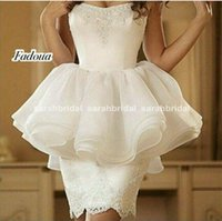 Cheap Chic White Cocktail Dresses Short Homecoming Prom Gowns 2015 Occasion Dress Sheath Sweetheart Appliques Peplum Party Prom Celebrity Qatar